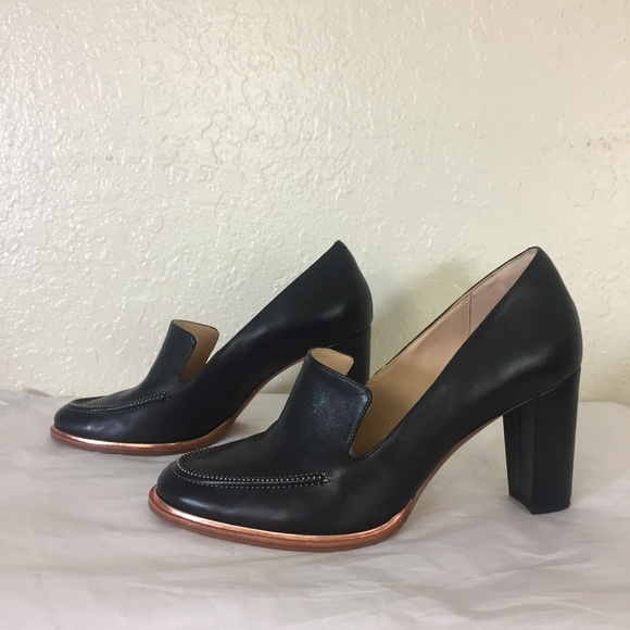 4e2f49fcff53 Clarks Shoes - Clarks Black Leather Heels Loafers Rose gold edge